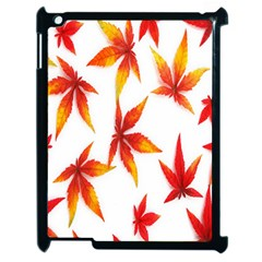 Colorful Autumn Leaves On White Background Apple Ipad 2 Case (black) by Simbadda