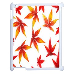 Colorful Autumn Leaves On White Background Apple Ipad 2 Case (white) by Simbadda