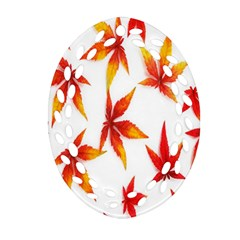 Colorful Autumn Leaves On White Background Oval Filigree Ornament (two Sides) by Simbadda
