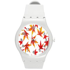 Colorful Autumn Leaves On White Background Round Plastic Sport Watch (m) by Simbadda