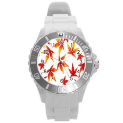 Colorful Autumn Leaves On White Background Round Plastic Sport Watch (l) by Simbadda