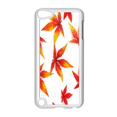 Colorful Autumn Leaves On White Background Apple Ipod Touch 5 Case (white) by Simbadda