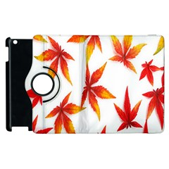 Colorful Autumn Leaves On White Background Apple Ipad 3/4 Flip 360 Case by Simbadda
