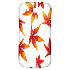 Colorful Autumn Leaves On White Background Samsung Galaxy S3 S Iii Classic Hardshell Back Case by Simbadda