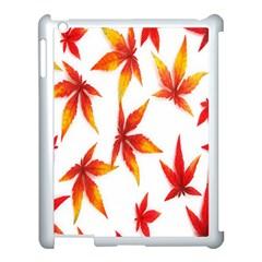 Colorful Autumn Leaves On White Background Apple Ipad 3/4 Case (white) by Simbadda