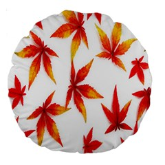 Colorful Autumn Leaves On White Background Large 18  Premium Round Cushions by Simbadda
