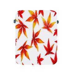 Colorful Autumn Leaves On White Background Apple Ipad 2/3/4 Protective Soft Cases by Simbadda