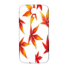 Colorful Autumn Leaves On White Background Samsung Galaxy S4 I9500/i9505  Hardshell Back Case by Simbadda