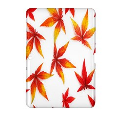 Colorful Autumn Leaves On White Background Samsung Galaxy Tab 2 (10 1 ) P5100 Hardshell Case  by Simbadda