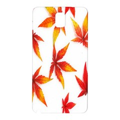 Colorful Autumn Leaves On White Background Samsung Galaxy Note 3 N9005 Hardshell Back Case by Simbadda