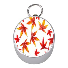 Colorful Autumn Leaves On White Background Mini Silver Compasses by Simbadda