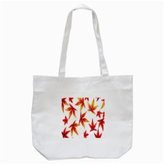 Colorful Autumn Leaves On White Background Tote Bag (white) by Simbadda