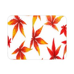 Colorful Autumn Leaves On White Background Double Sided Flano Blanket (mini)  by Simbadda