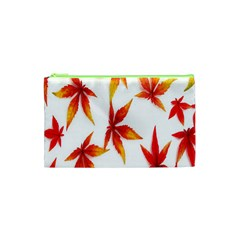 Colorful Autumn Leaves On White Background Cosmetic Bag (xs) by Simbadda