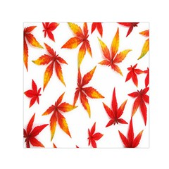 Colorful Autumn Leaves On White Background Small Satin Scarf (square) by Simbadda