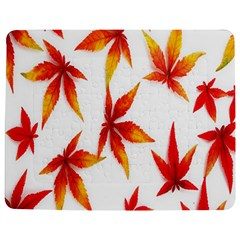 Colorful Autumn Leaves On White Background Jigsaw Puzzle Photo Stand (rectangular) by Simbadda