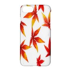 Colorful Autumn Leaves On White Background Apple Iphone 7 Hardshell Case by Simbadda