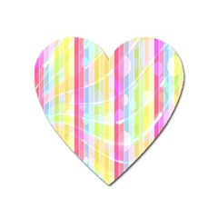 Colorful Abstract Stripes Circles And Waves Wallpaper Background Heart Magnet by Simbadda