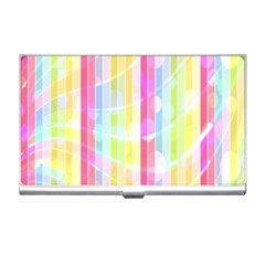 Colorful Abstract Stripes Circles And Waves Wallpaper Background Business Card Holders by Simbadda