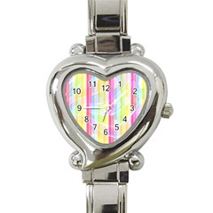 Colorful Abstract Stripes Circles And Waves Wallpaper Background Heart Italian Charm Watch by Simbadda