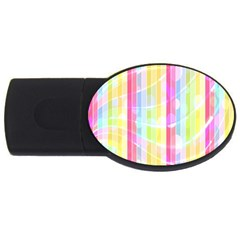 Colorful Abstract Stripes Circles And Waves Wallpaper Background Usb Flash Drive Oval (4 Gb) by Simbadda