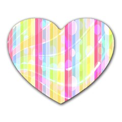 Colorful Abstract Stripes Circles And Waves Wallpaper Background Heart Mousepads
