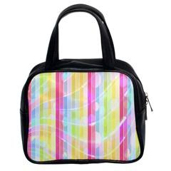 Colorful Abstract Stripes Circles And Waves Wallpaper Background Classic Handbags (2 Sides) by Simbadda