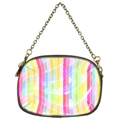 Colorful Abstract Stripes Circles And Waves Wallpaper Background Chain Purses (one Side)  by Simbadda