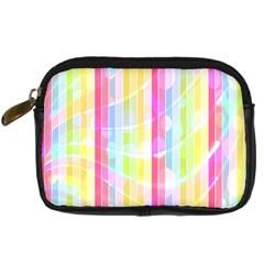 Colorful Abstract Stripes Circles And Waves Wallpaper Background Digital Camera Cases by Simbadda