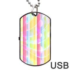 Colorful Abstract Stripes Circles And Waves Wallpaper Background Dog Tag Usb Flash (two Sides) by Simbadda