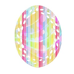 Colorful Abstract Stripes Circles And Waves Wallpaper Background Oval Filigree Ornament (two Sides) by Simbadda