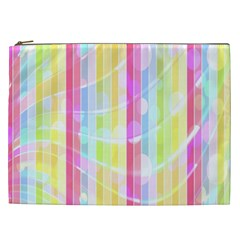 Colorful Abstract Stripes Circles And Waves Wallpaper Background Cosmetic Bag (xxl)  by Simbadda