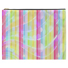 Colorful Abstract Stripes Circles And Waves Wallpaper Background Cosmetic Bag (xxxl)  by Simbadda