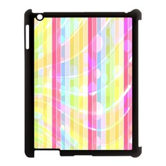 Colorful Abstract Stripes Circles And Waves Wallpaper Background Apple Ipad 3/4 Case (black) by Simbadda