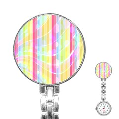 Colorful Abstract Stripes Circles And Waves Wallpaper Background Stainless Steel Nurses Watch