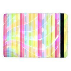 Colorful Abstract Stripes Circles And Waves Wallpaper Background Samsung Galaxy Tab Pro 10 1  Flip Case by Simbadda