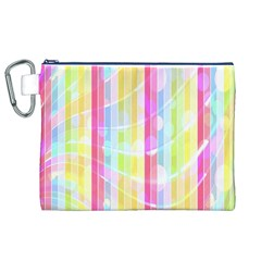 Colorful Abstract Stripes Circles And Waves Wallpaper Background Canvas Cosmetic Bag (xl) by Simbadda