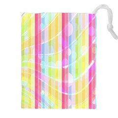 Colorful Abstract Stripes Circles And Waves Wallpaper Background Drawstring Pouches (xxl) by Simbadda
