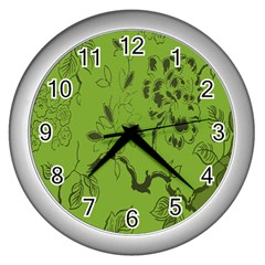 Abstract Green Background Natural Motive Wall Clocks (silver)  by Simbadda