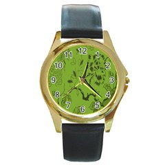 Abstract Green Background Natural Motive Round Gold Metal Watch by Simbadda