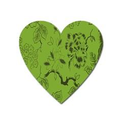Abstract Green Background Natural Motive Heart Magnet by Simbadda