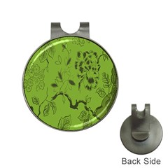 Abstract Green Background Natural Motive Hat Clips With Golf Markers by Simbadda