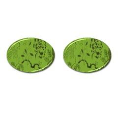 Abstract Green Background Natural Motive Cufflinks (oval) by Simbadda