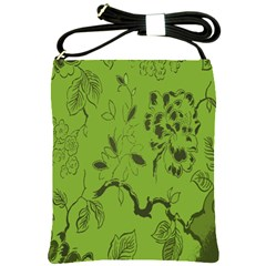 Abstract Green Background Natural Motive Shoulder Sling Bags by Simbadda