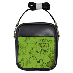 Abstract Green Background Natural Motive Girls Sling Bags by Simbadda