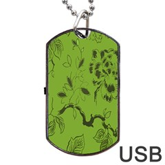 Abstract Green Background Natural Motive Dog Tag Usb Flash (two Sides) by Simbadda