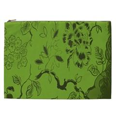 Abstract Green Background Natural Motive Cosmetic Bag (xxl)  by Simbadda