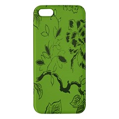 Abstract Green Background Natural Motive Apple Iphone 5 Premium Hardshell Case by Simbadda