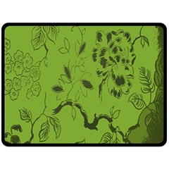 Abstract Green Background Natural Motive Double Sided Fleece Blanket (large)  by Simbadda