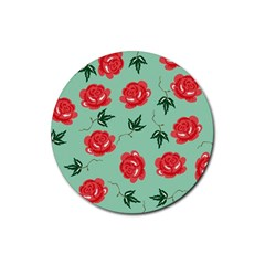 Floral Roses Wallpaper Red Pattern Background Seamless Illustration Rubber Coaster (round)  by Simbadda